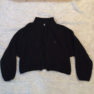 Black Oversized Cropped Jacket from Forever 21